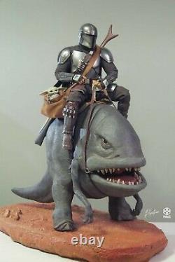 1/6 Custom Mandalorian Blurrg Diorama Hot Toys TMS007 Star Wars Dewback READ