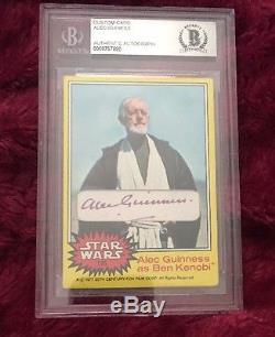 Alec Guinness Signed Custom Obi Wan 1977 Topps Star Wars Beckett BAS COA Rare