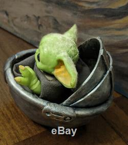 Baby Yoda Mandalorian Star Wars Custom Art Figure In Crib Limited Artist Made