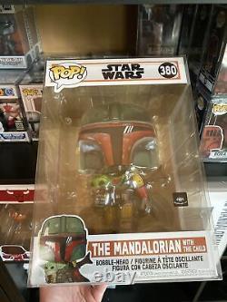 CUSTOM POP OF 3 FUNKO POP! Star Wars #380 Mandalorian x Boba Fett 10 INCH