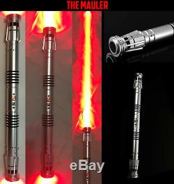 Darth Maul Star Wars Custom Aluminum Lightsaber Double Red blades LED with Sound