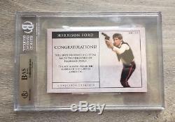 Harrison Ford Star Wars Signed Custom Cut Auto Large Card #1/1 Beckett Slabbed