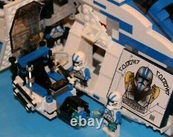 LEGO brick STAR WARS Custom 7676 MOC Blue 501 REPUBLIC GUNSHIP + 6 Minifigures
