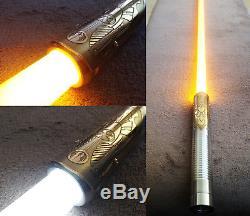 New Lightsaber / Plecter Lab's Prizm V4 / Custom Etched Brass Shroud Star Wars
