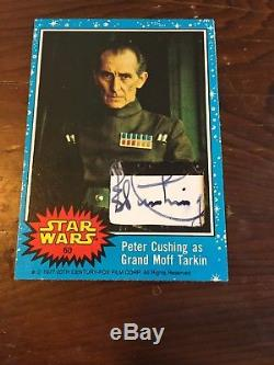 Peter Cushing Signed Custom Cut Tarkin 1977 topps Star Wars Trading Card