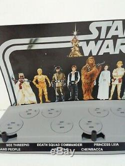 STAR WARS VINTAGE MAIL AWAY FIRST 12 FIGURE STAND WITH Custom backdrop
