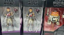 Star Wars Black Series Rebels Lot of 6 + Custom Heads Ezra, Sabine, Hera, Zeb
