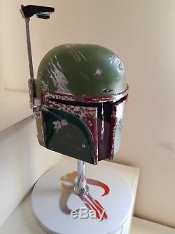 Star Wars Custom Made Boba Fett Helmet + Stand