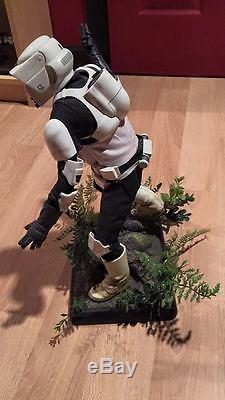 Star Wars Sideshow BIKER SCOUT TROOPER Premium Format Statue + Custom Base