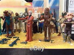 Vintage Star Wars Action Figures Lot, Weapons, Custom Creature CANTINA BACKDROP